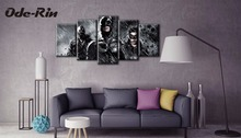 Ode-Rin canvas painting modern simple Batman pictures Frameless draw christmas decorations for home 5 piece canvas art no frame(China)