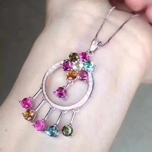 Natural multicolor tourmaline pendant S925 silver Natural gemstone Pendant Necklace trendy Collar women party jewelry(China)
