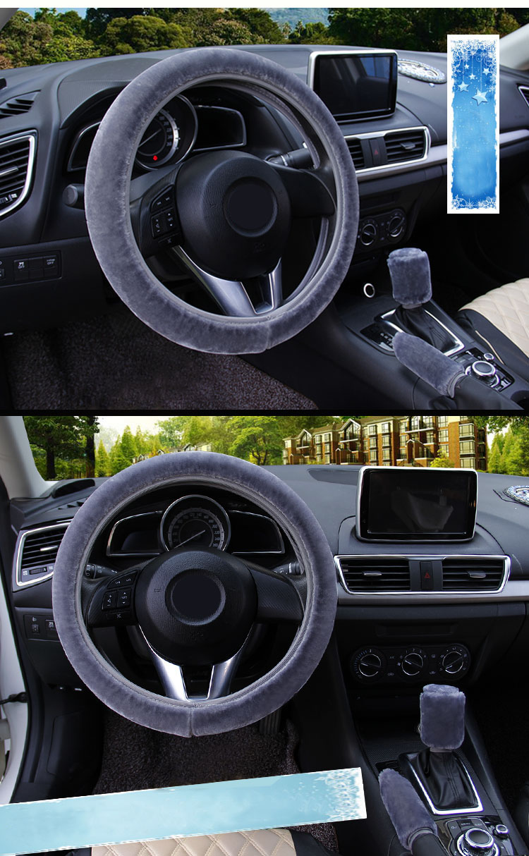 winter Steering Wheel Cover+Handbrake cover + car Automatic Covers / Warm Super thick Plush Gear Shift Collar 10