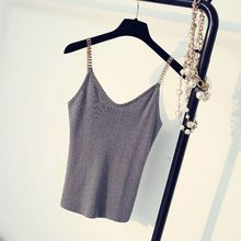 Women Tops Sexy Clubwear Girls Camisoles Female Metal Strap With V-neck Sweater Thin Bright Mesh Glitter Bling(China)