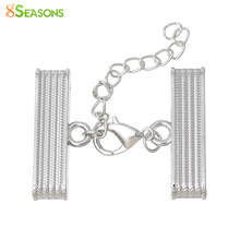 8SEASONS Necklace Cord End Caps Rectangle Lobster Clasp And Extender Chain(Fits 30mm x 4mm Cord)32mm x 14mm ,2 Sets(China)