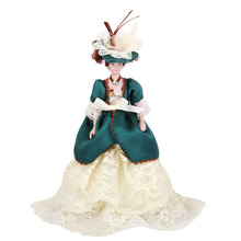 Dollhouse Miniature Porcelain Dolls Victorian Lady in Green Dress with Stand Creative Girls Gifts Presents Pretend Play Toys(China)