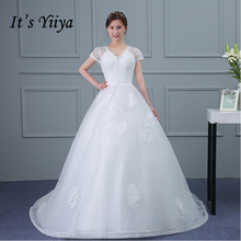 It's Yiiya Popular Off White Short Sleeve Wedding Dresses Flower Pattern Button Luxurious Illusion Wedding Gown X069(China)