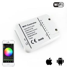 DC12v 24V 12A wifi rgb rgbw color temperature single color dimmer led controller control by AndroidIOS(China)