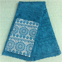 2016 blue jacquard lace fabric chemical net african cord guipure materil soft cupion handcut bridal lace wedding party dress(China)