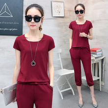 3XL Black Pink Red Sporting Outfits Sportswear Tracksuit Women Sporting Suit Two Piece Set Summer Short Sleeve Top Pants Suits