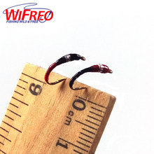 Wifreo [6PCS] #14 Red & Black Larva Pan Fish Fly White Fish Blue Gill Perch Fishing Nymph Lure(China)