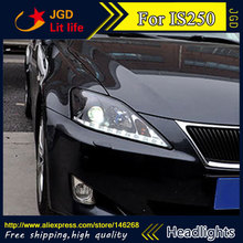 Free shipping ! Car styling LED HID Rio LED headlights Head Lamp case for Lexus IS250 Bi-Xenon Lens low beam