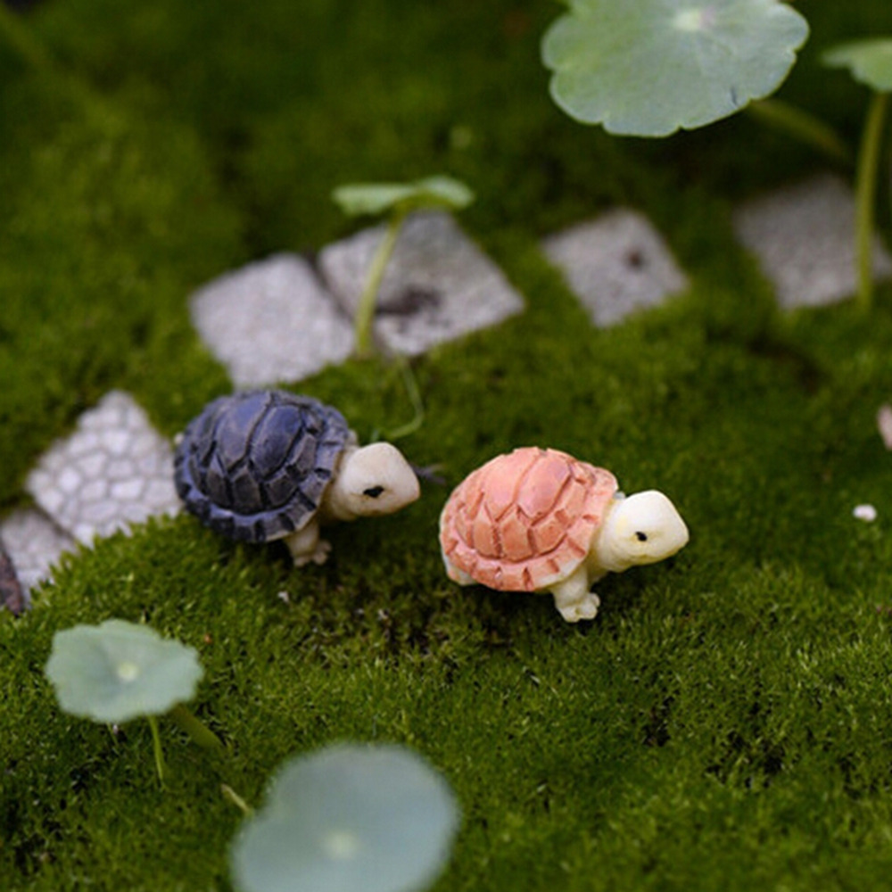 1 Pair Mini Tortoise Model Fairy Garden Miniatures DIY Doll House/Terrarium/Home Desktop/Succulents/ Micro Landscape Decoration