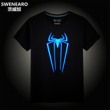 SWENEARO Tshirt Men Hip Hop Funny T Shirts Spider Man Swag Tee Shirt Luminous Design Man T-shirt Summer Clothes Men Tops Tees(China)