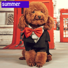 2015 hot sell Gentleman Wedding pet dog Suit and bow tie garment  Formal Party dog Cothes Costume