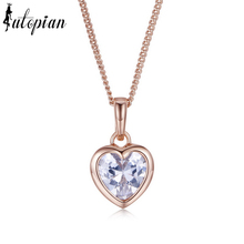 Iutopian Rose Gold Color Heart Pendant Necklace With Top Quality CZ Anti Allergy #RA33315