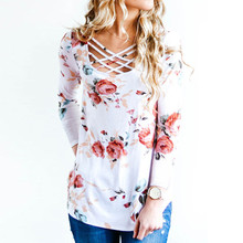 Printed Floral Lace up V-Neck T-Shirt Women Tops Autumn Winter 2017 T Shirt Female Top Tees Casual Long Sleeve White Blue tshirt(China)