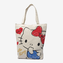 High Quality Japan Hello Kitty Handbag Large Capacity Canvas Shoulder Bag Cute Shopping Bag With Zipper Wholesale Price
