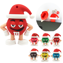 2017 Christmas Gift M&M chocolate beans usb flash drive 4GB 8GB 16GB 32GB 64GB pen drive silicone Pendrive 2.0 Memory Stick(China)