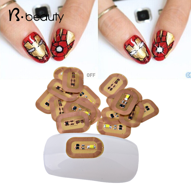 10pcs Fashion 3d NFC Japan Design Fashion Nail Stickers LED light Flash Affixed Scintillation Cell Phone DIY Nail Art Decoration(China (Mainland))