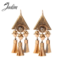 JOOLIM Jewelry Wholesale/  Antique Gold Tassel  Earring Statement Earring Christmas Gift Manufacture Supply