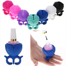 1Pc Nail Art Finger Holder Ring Style Gel Polish Varnish Wearable Silicone Stand Tip Support Flower Shape Manicure Tool 7 colors