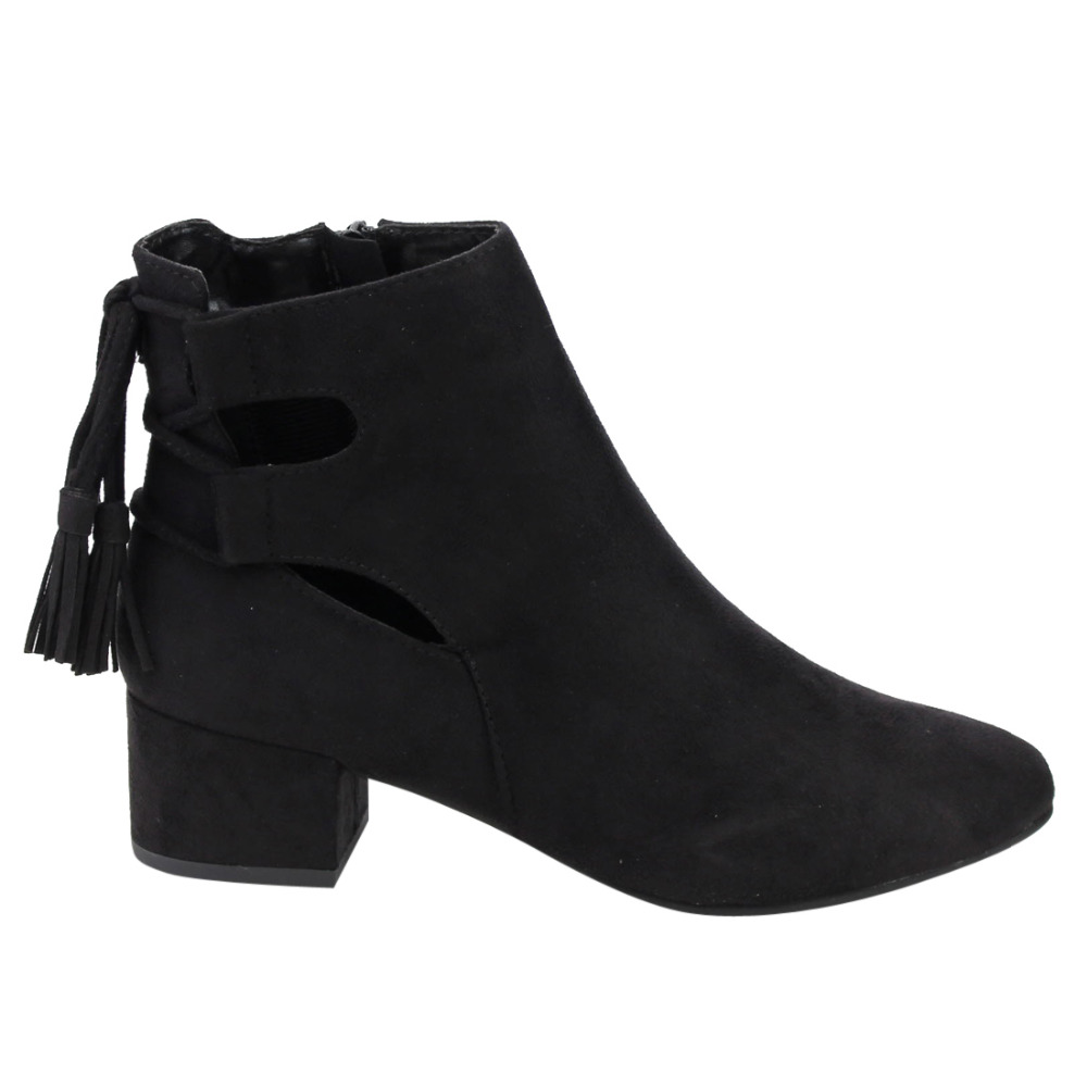 IB84 Womens Cut Out Lace Up Mid Block Heel Ankle Bootie<br>