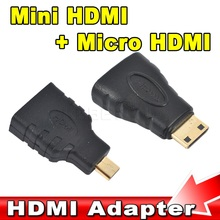 1set HDMI to Mini + HDMI to Micro HDMI HD extension Adapter Converter Connector for Vedio TV for Xbox 360 HDTV 1080