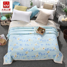 Light Blue Thin Summer Duvet 100% Cotton + Polyester Comforter Super Soft Bedclothes Home Textile Supply Twin Queen Size XF8J8