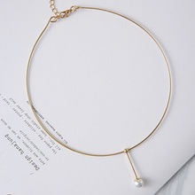 2016 Korean Modern Show Joker Fashion Choke Collar Metal Simple Design Simulated Perlas Jewelry Style For Girls Fashion