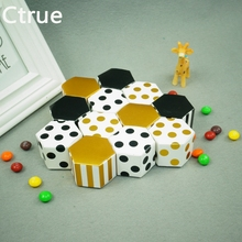 Ctrue 10pcs/lot small size Striped dot wedding Candy Boxes chocolate box baby shower favor Chocolate bean box(China)