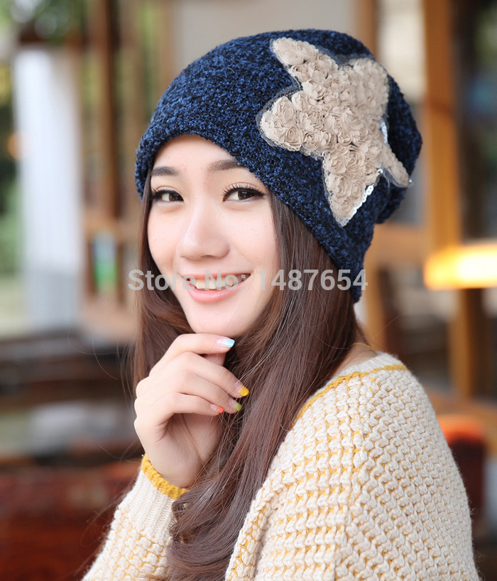 fe4d784b608 Free shopping Autumn and winter hats for women beanie Thick warm cap pocket  turban hat floral Decoration patterns hats for girls