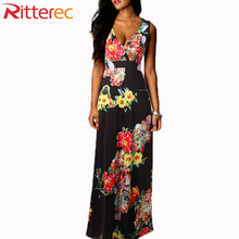 2017 Summer Style Fashion maxi dress Women Flower Print Patchwork Floor Length Dress Sleeveless V Neck floral dress
