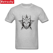 Designer Gothic Werewolf Wolf head with star Tee Mens O-neck Short Sleeve Black White Animal Male T Shirts Casual(China)