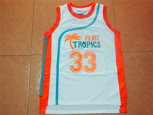 Flint Tropics Semi Pro Movie Throwback Basketball Jerseys,#33 Jackie Moon White Stitched Movie  jersey Free Shipping