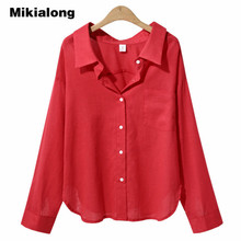 Buy Mikialong Casual Ladies Office Blouse 2017 Autumn Loose Long Sleeve Women Tops White Khaki Cotton Linen Shirts Women Clothing for $11.31 in AliExpress store