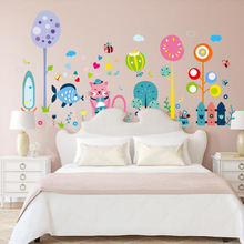 Brand 2017 Cartoon Animals Wall Stickers for Kids Rooms Cat Fish Lover Infant Babies Wall Sticker Decals Wallpaper DIY Poster