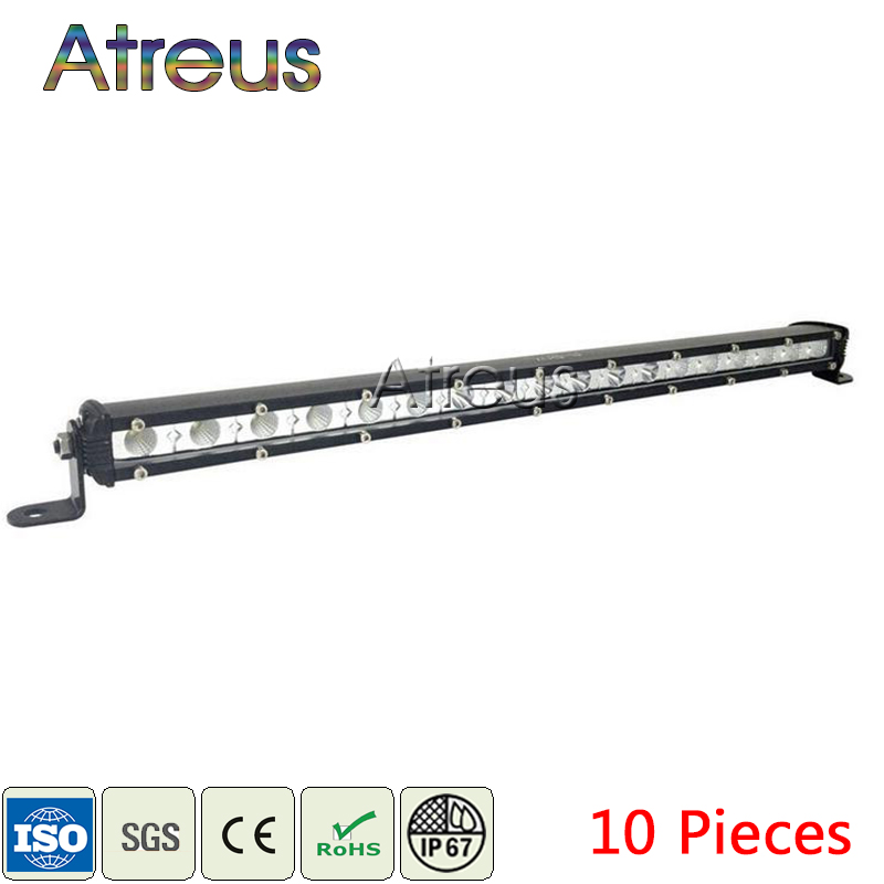 Atreus 10X 19Inch 54W Car Single Row LED Light Bar 12V Spot DRL For ATV 4X4 Truck 4WD Offroad Jeep Automobile Driving Fog Lamp<br>