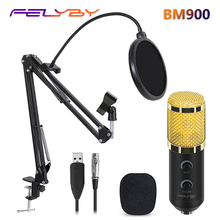 FELYBY bm 800 upgraded bm 900 Professional Studio USB Condenser Microphone for Computer Laptop Adjustable volume reverb mikrofon(China)