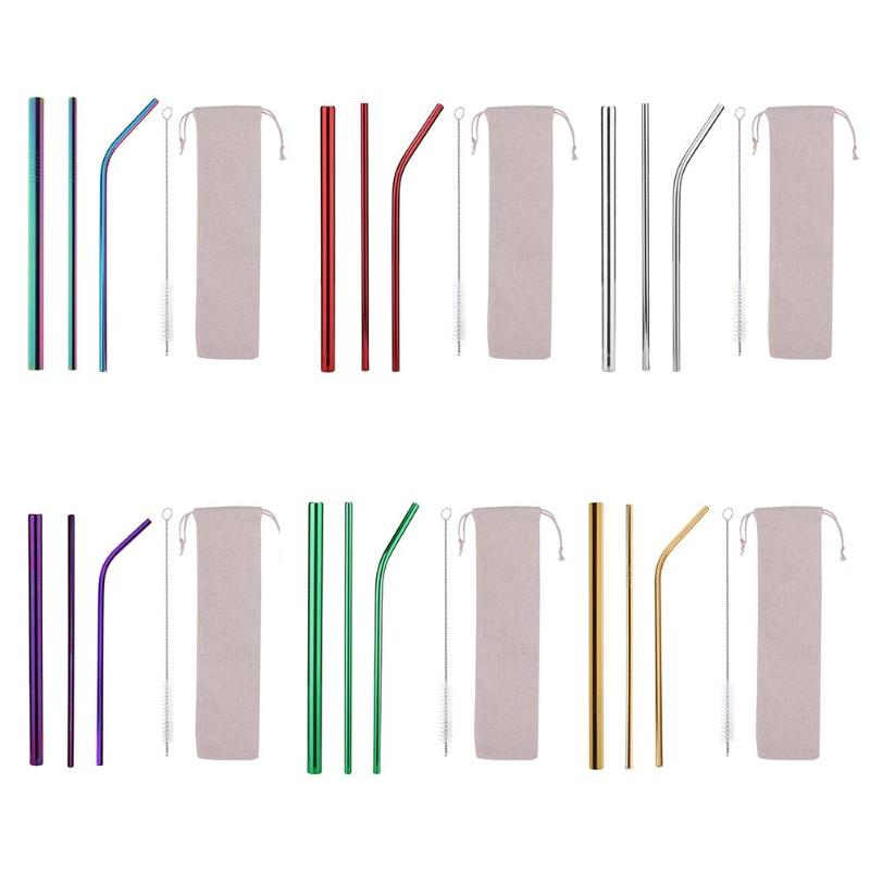 5pcs//Set Stainless Steel Reusable Bar Drinking Straws Cleaning Brush /& Bag Kit