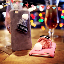 KISSCASE For iPhone 6 6s 7 Plus Christmas Case Decoration Cute Pink Phone Case For iPhone 6 7 Plus 6S Plus Christmas Hat Cover