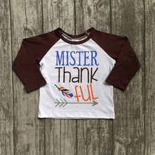 baby boys cotton thankgiving Raglans boys MISTER Thanksful raglans with feather and arrow top boys brown sleeve raglans(China)