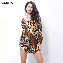new code explosion of European and American foreign trade dress fashion cashmere all-match leopard flower fat MM dress