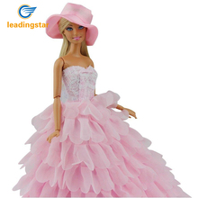 LeadingStar Evening Dress For Barbie Doll Wedding Dress Furniture For Doll Clothes For Barbie Doll with Hat zk35(China)