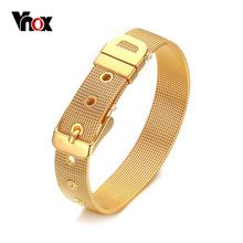 Vnox Adjustable Belt Cuff Bracelet Bangle for Women Gold/Silver color Stainless Steel Elegant Jewelry