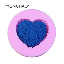 YONGHAO DIY Cake Decorating Loving Heart Lace Shaped Fondant Sugar Art Tools DIY Cake Decorating Tools 3D Silicone Molded N56
