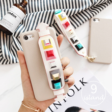 Fashion Litchi Texture PU Square Rivets Case For iPhone 7 7plus 6 6s 6plus 6splus Wrist Grip Cases Hard Back Cover Tide brand