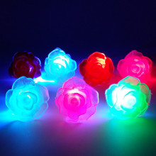 12pcs/lot LED Finger Ring Light Flashing Soft Rose flower Ring Wedding Fancy Halloween Party Decaoation Luminous Flower Rings