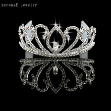 Free shipping pageant crystal ballet silver shiny crown cheap wedding bride crown girls bridal hair decoration metal tiara crown