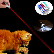 FFFAS Laser funny cat stick New Cool 2 In1 Red Laser Pointer With White LED Light Childrens Play Toy Fashion come with battery(China)