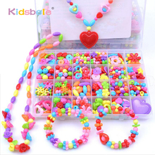 Girl Beads DIY Toys For Children String Beads Make Up Puzzle Toys Jewelry Necklace Bracelet Building Kit Educational Block Toy(China)
