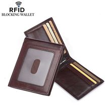 Rfid Blocking Credit Card Holder Wallet with Metal Clip Genuine Leather Men Money Bag 2017 New id Card Protector Purse Travel