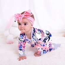 Orchid Baby Rompers, Pajamas Cotton baby romper Pack Feet Jersey,Spring and Autumn Keep warm, Zipper Long sleeves Baby clothes(China)