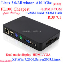 "FL100 Linux thin clients with RDP7 All winner A10 1G Linux 3.0 256M Ram 512M Flash HD VGA 56"" big screen support"